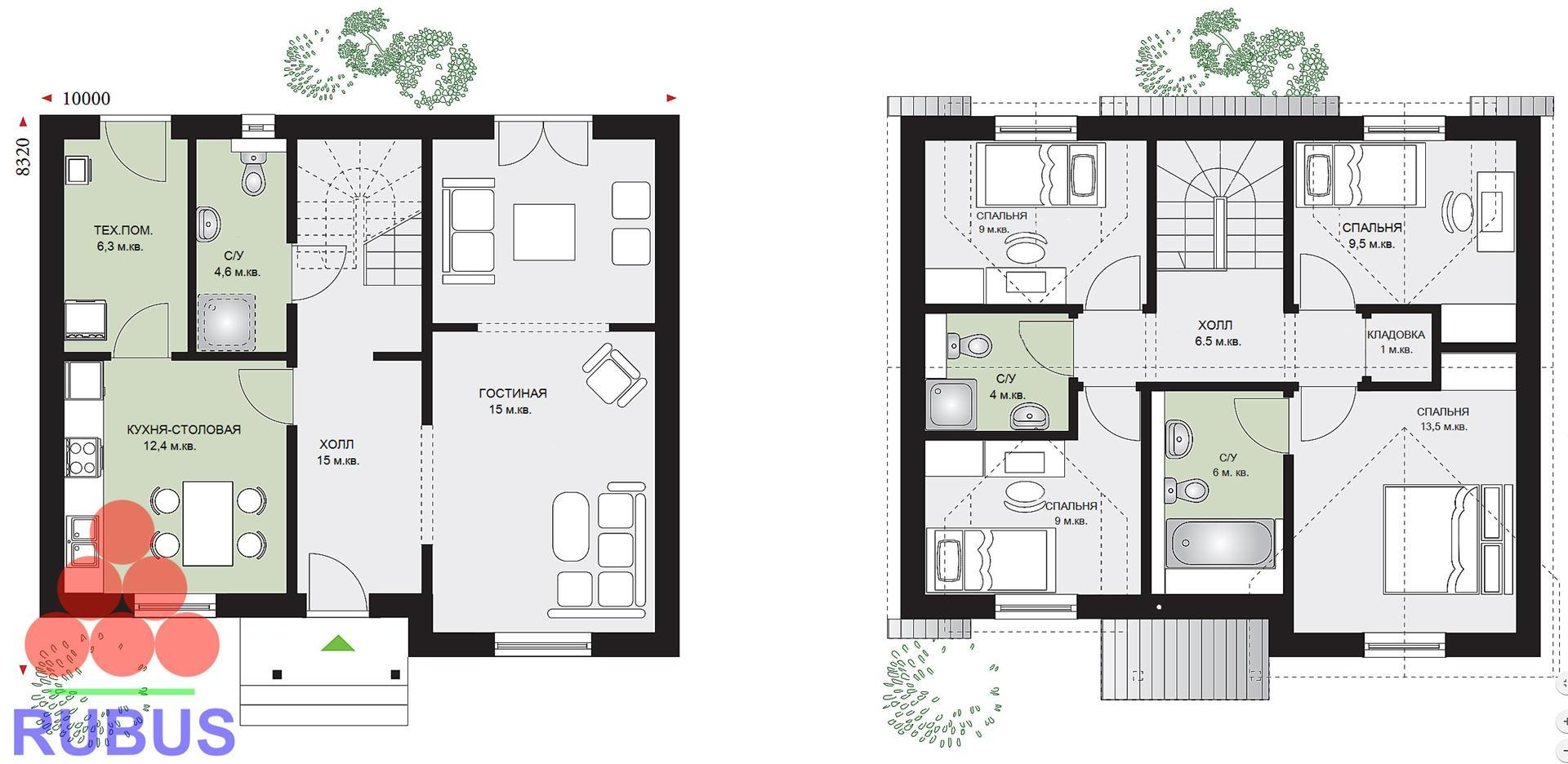 Проект дома с мансардой 1МS-132