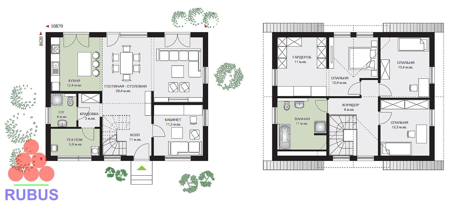 Проект дома с мансардой 1МS-159