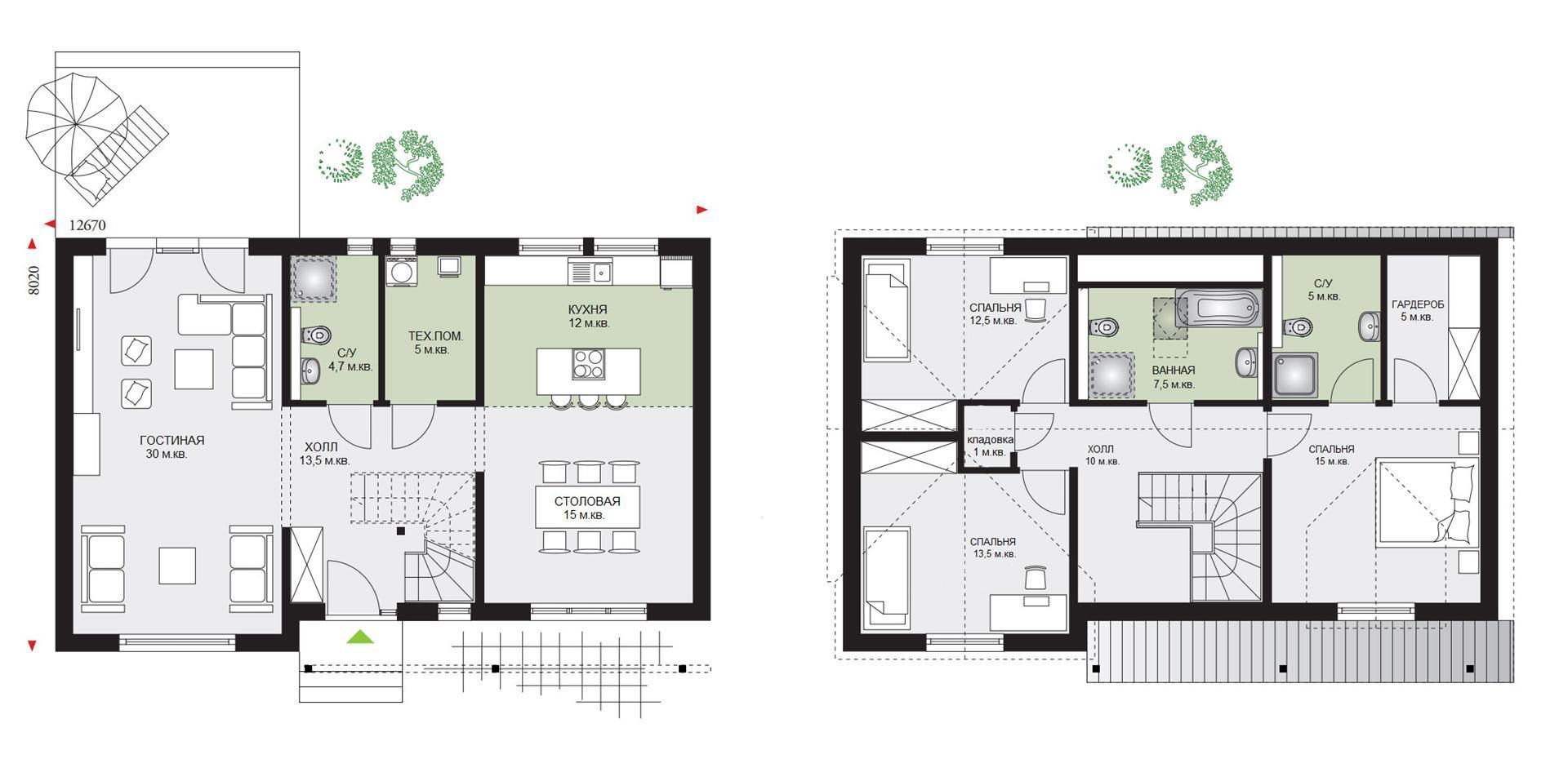 Проект дома с мансардой 1МS-163