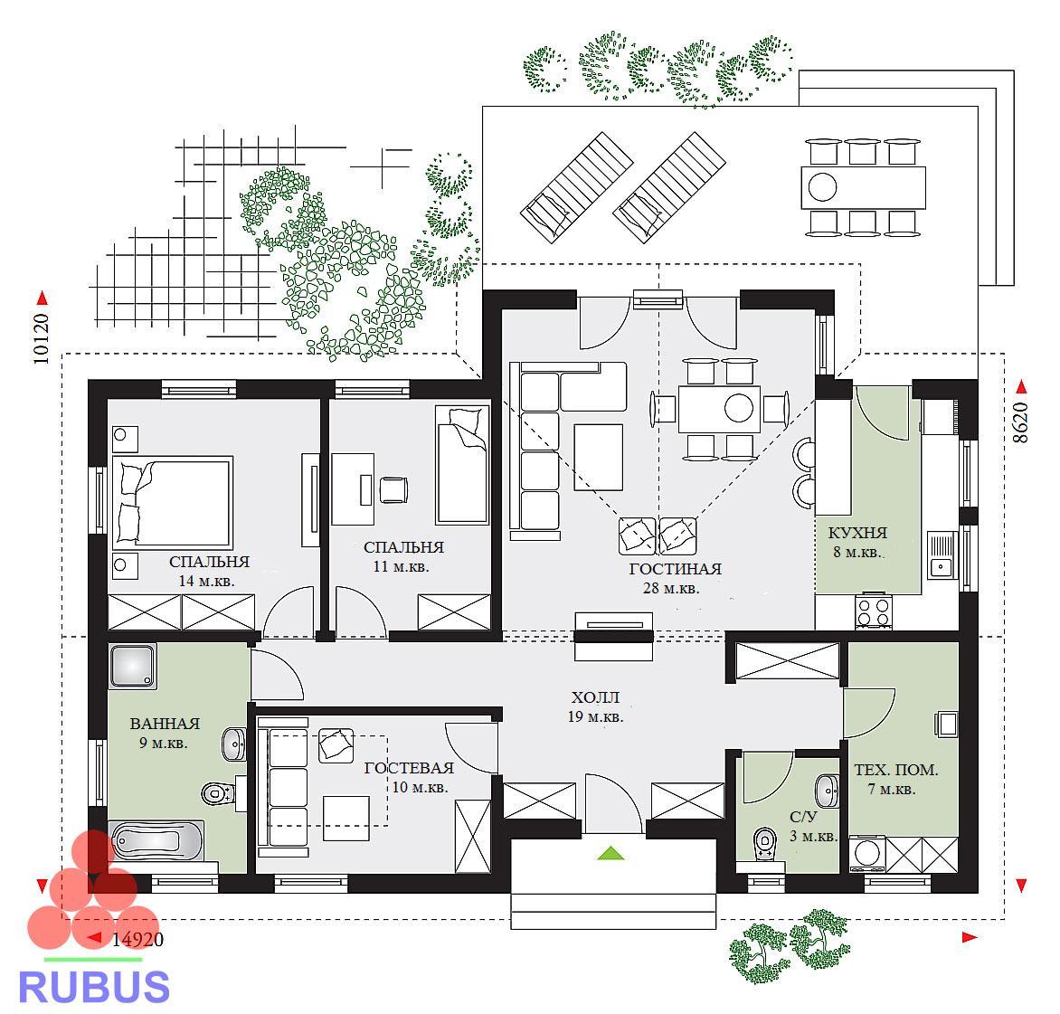 Проект одноэтажного дома 1S-113