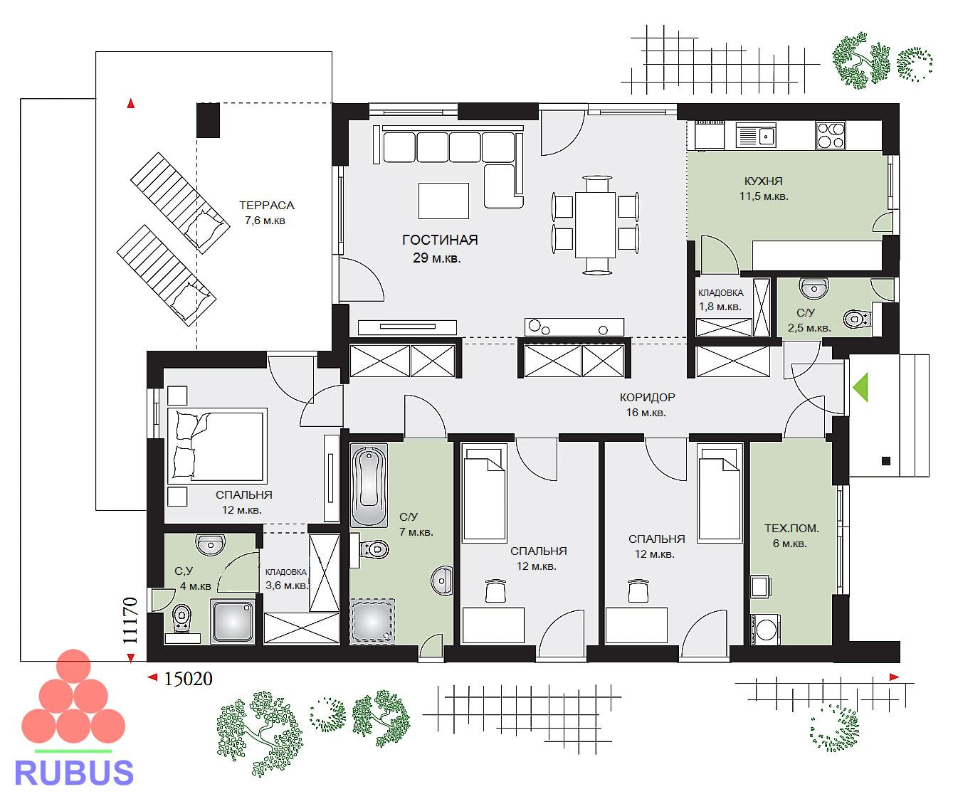 Проект дачного дома 1Р-125