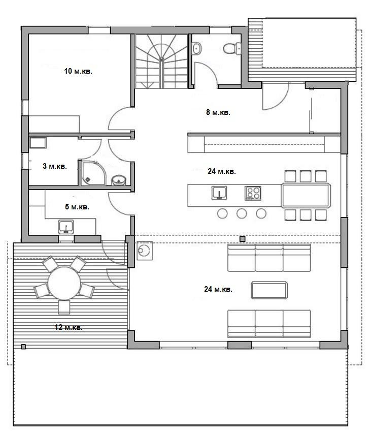 План 1 этажа каркасного дома