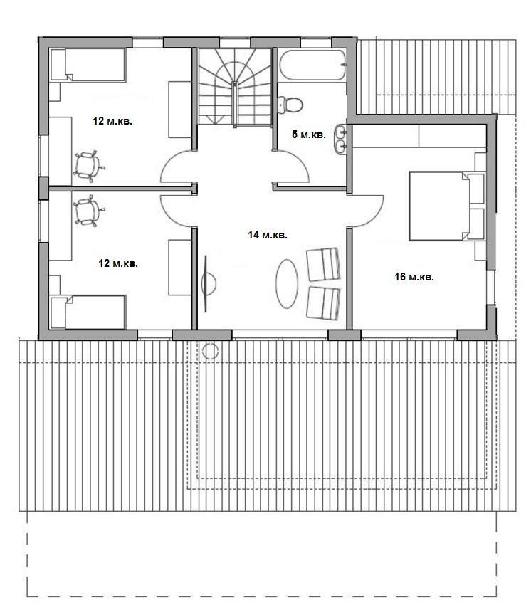 План 2 этажа каркасного дома