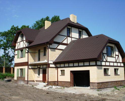 Комбинированный фасад фахверк