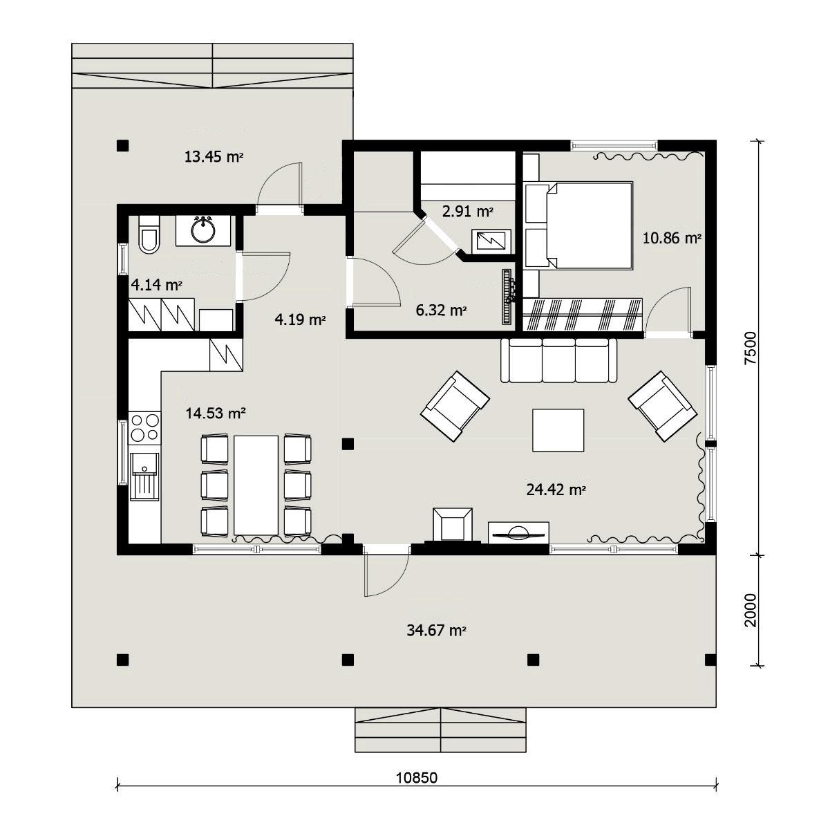 Планировка гостевого дома с баней