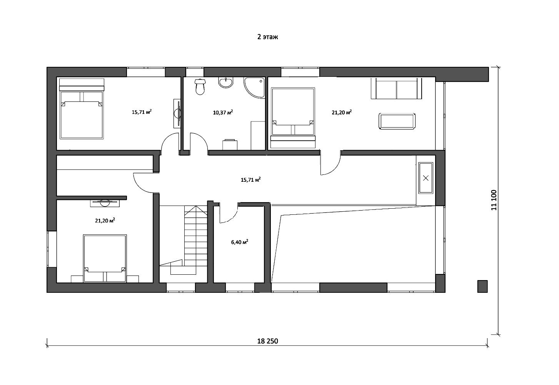 Проект дома БАРН 2 этаж